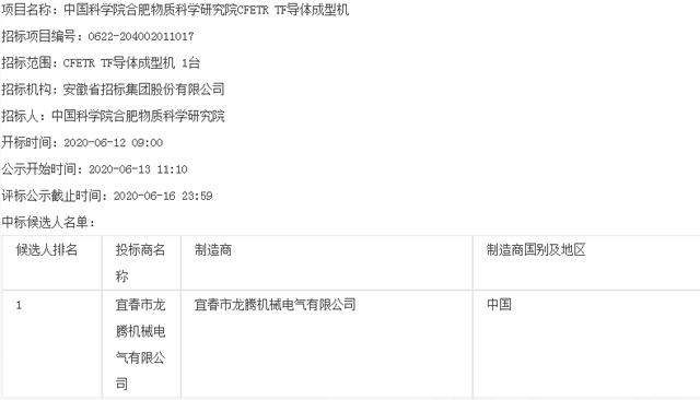 中国科学院合肥物质科学研究院CFETR TF导体成型机评标结果公示公告